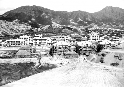 View of English style residences in Kowloon Tong next to Kadoorie Hill, 1930s